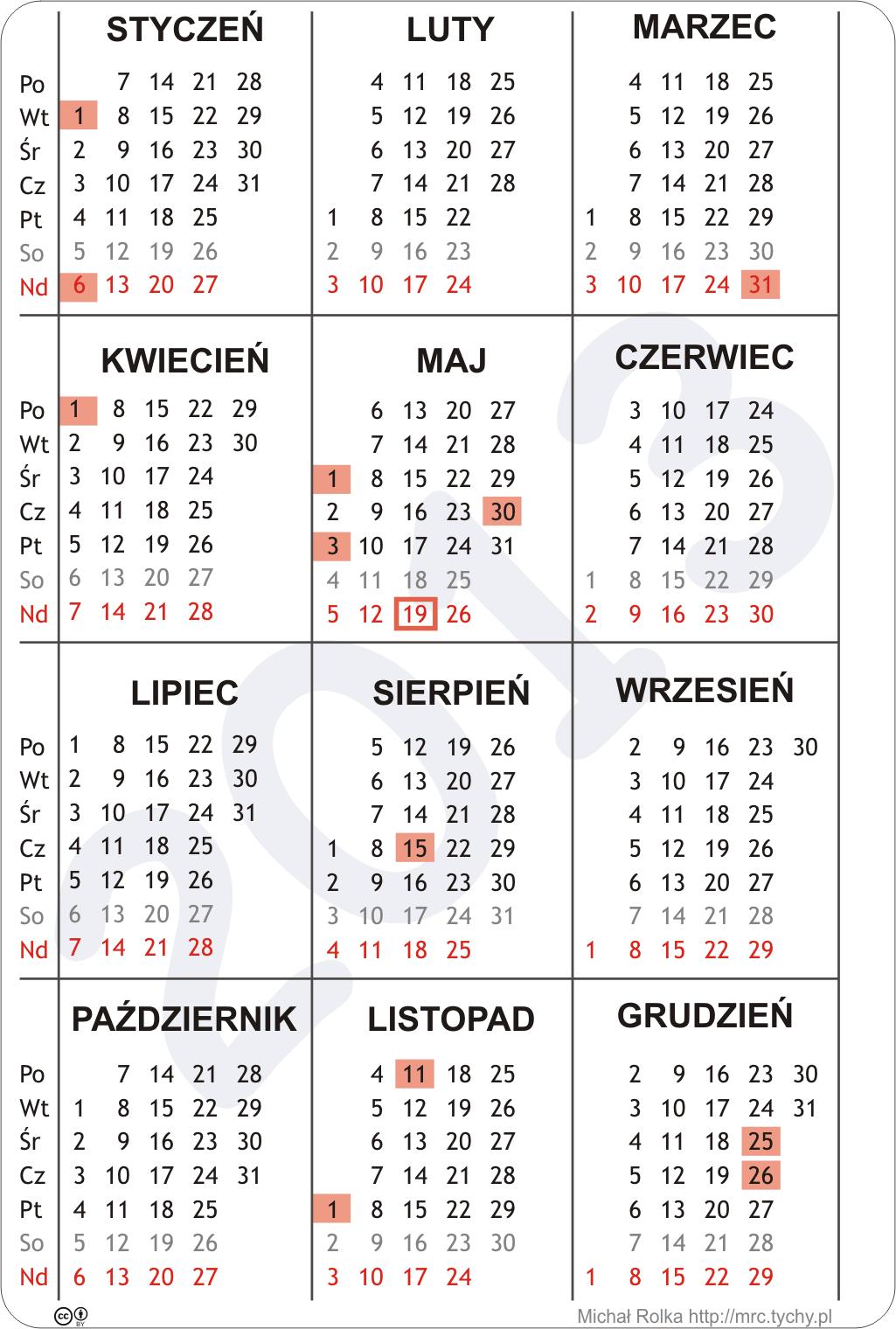 2012 03 03 Kalendarz Na Rok 2013 W Wersji PNG I PDF