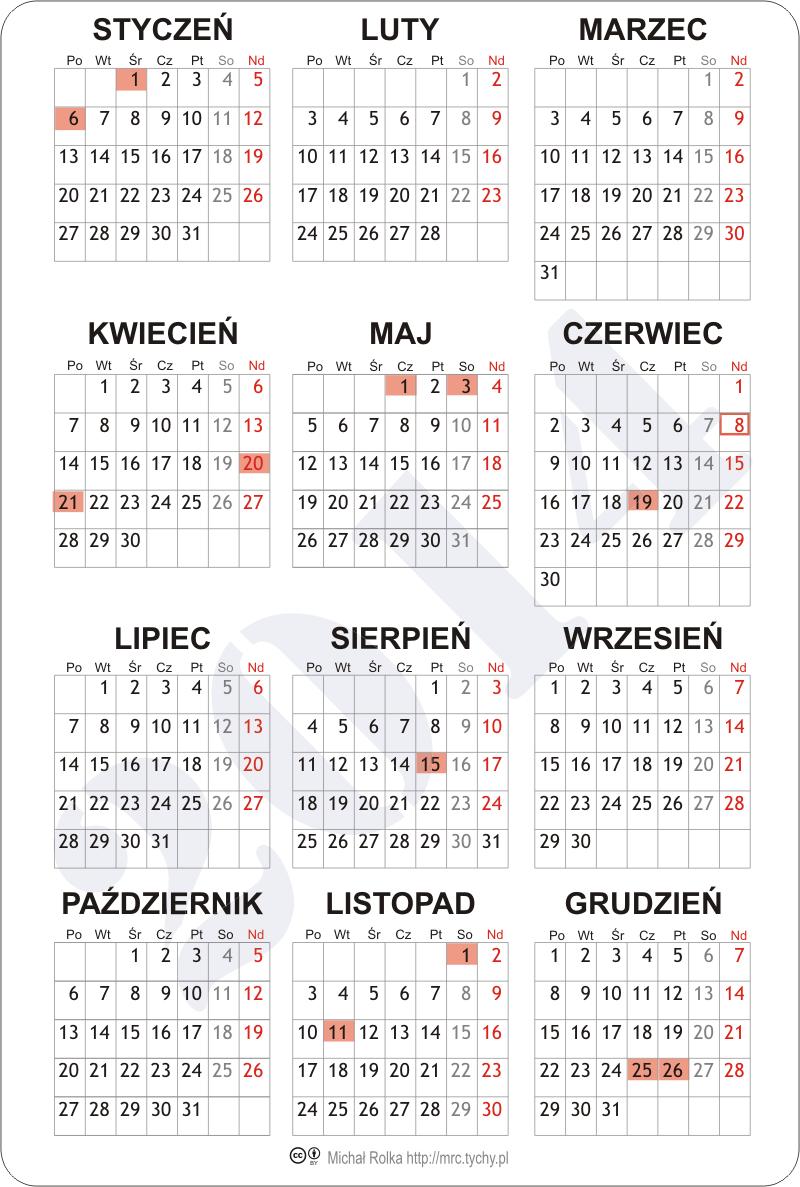 Kalendarz 2016 | Calendar Template 2016